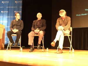 (left to right) Speakers Roland Kelts, Jay Rubin and Ted Goossen. (photo by Megan Lee / Meniscus Magazine)