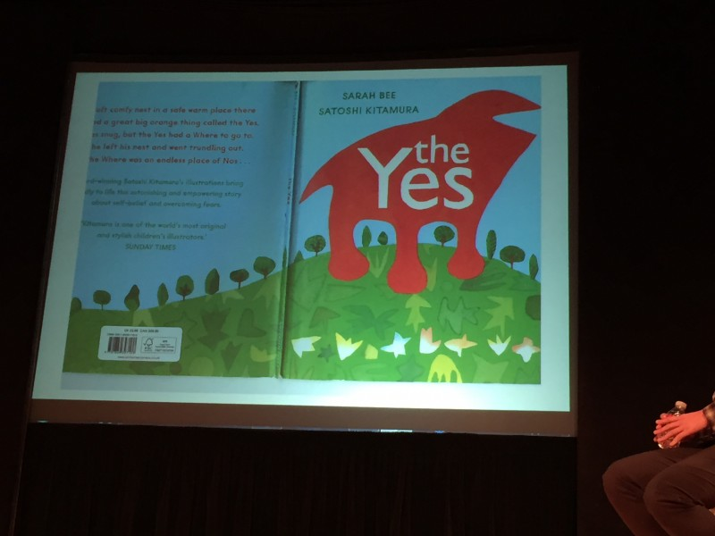 The cover of one of Satoshi Kitamura's illustrated works, The Yes by Sarah Bee. (photo by Megan Lee / Meniscus Magazine)