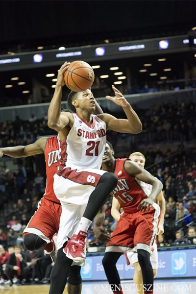 Anthony Brown of Stanford in action at the 2014 Coaches vs. Cancer Classic in Brooklyn. (photo by Kwai Chan / Meniscus Magazine)