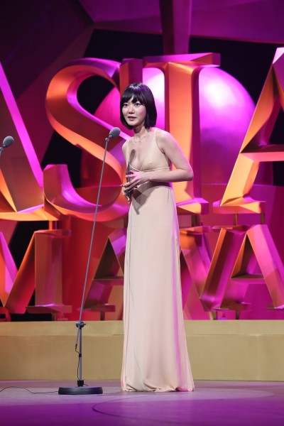 "Bae Doona in Macau at the 2015 Asian Film Awards, where she won Best Actress honors for her role in ""A Girl at My Door."" (photo courtesy of the Asian Film Awards)"