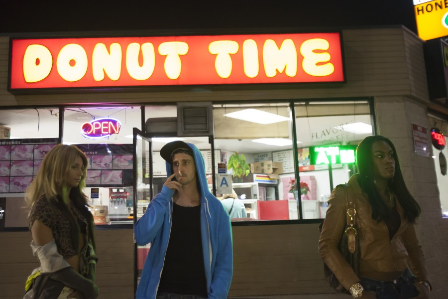 "Kitana Kiki Rodriguez (left, as Sin-Dee),  James Ransone (Chester, Sin-Dee's boyfriend) and Mya Taylor (Alexandra, Sin-Dee's best friend) in ""Tangerine."" (photo courtesy of Magnolia Pictures)"