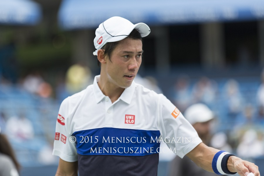 "Nishikori makes sure to bring several shirts with him to each match. ""Usually three or four is enough for a match,"" he said.  However, it's a different story in the Nation's Capital's notorious summer humidity.  ""Here, especially, I sweat a lot, so maybe five or six,"" Nishikori said. (photo by Kwai Chan / Meniscus Magazine)"