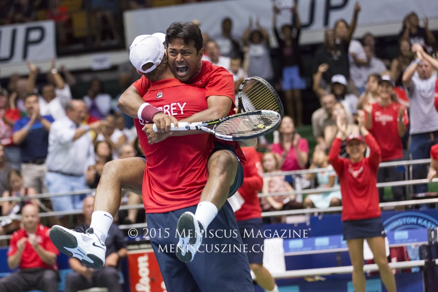 Top 30 singles player Sam Querrey and Leander Paes (a 16-time Grand Slam doubles champion) teamed up for the Kastles in Men's Doubles this season. (photo by Kwai Chan / Meniscus Magazine)