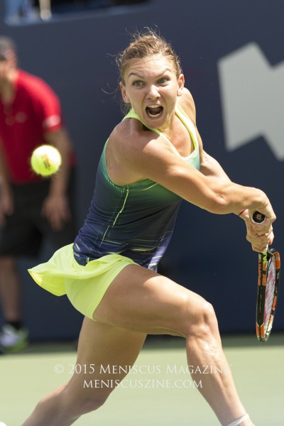 Simona Halep of Romania was forced to retire in the finals of the 2015 Rogers Cup, giving the title to Swiss teenager Belinda Bencic. (photo by Kwai Chan / Meniscus Magazine)