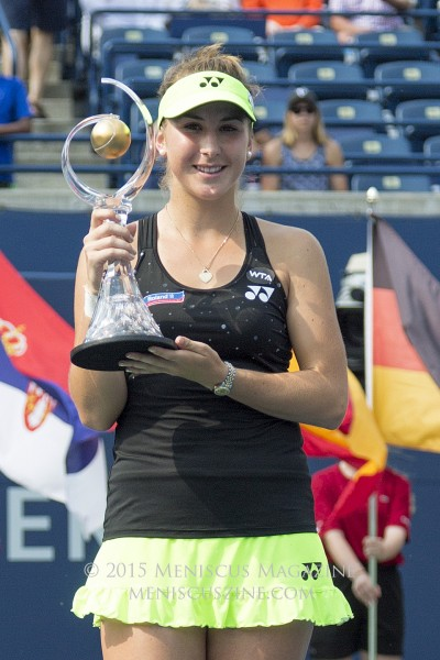 Belinda Bencic, 18, with the 2015 Rogers Cup trophy. (photo by Kwai Chan / Meniscus Magazine)