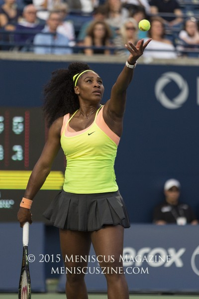 Serena Williams in her on-court Nike gear during her third-round victory over Andrea Petkovic at the 2015 Rogers Cup. (photo by Kwai Chan / Meniscus Magazine)