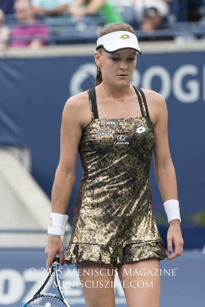 "From a women's tennis fashion perspective, the talk of the 2015 Rogers Cup was Agnieszka Radwanska's new tennis dress from Lotto. Titled the Lux Woman Metallic Lace Print dress, it is part of a limited edition collection and is the contrasting evening ""disco dress"" - as referred to by press and players - to the Diamond Print version that the Polish No. 1 wore at the 2015 French Open. (photo by Kwai Chan / Meniscus Magazine)"