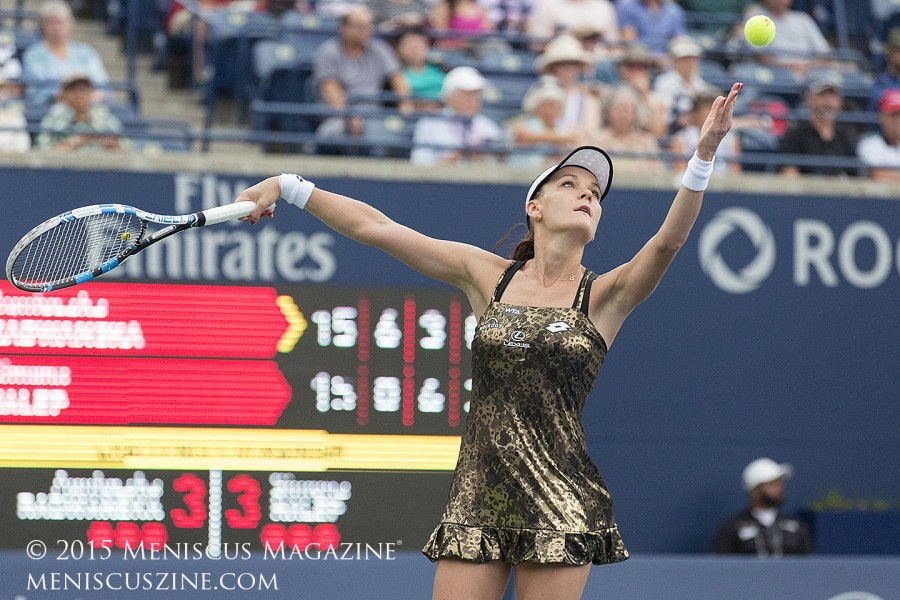 "The dress retails for US$99.99, and is accompanied by a matching tank top and skirt.  ""I really like the reaction from other people and from other players,"" Radwanska said after her third-round victory over Alize Cornet. (photo by Kwai Chan / Meniscus Magazine)"