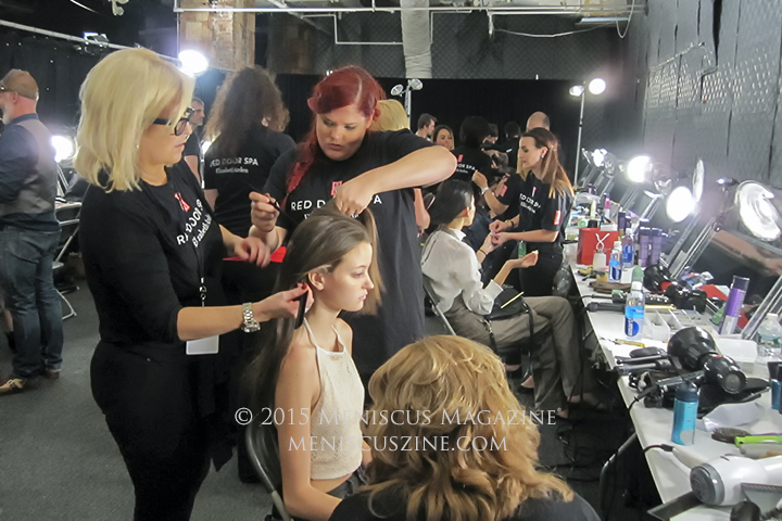The Elizabeth Arden Red Door Spa handled both hair and nails for the Vivienne Tam Spring 2016 show. (photo by Megan Lee / Meniscus Magazine)