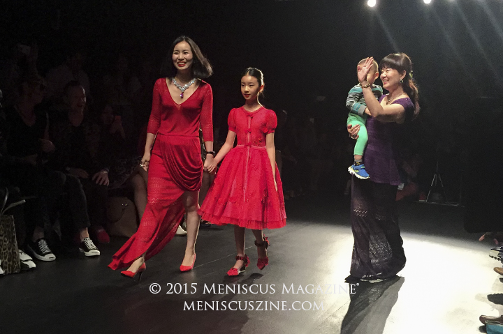 Deng Hao fashion on the runway at the conclusion of the Fashion Shenzhen Spring 2016 show in New York. (photo by Megan Lee / Meniscus Magazine)