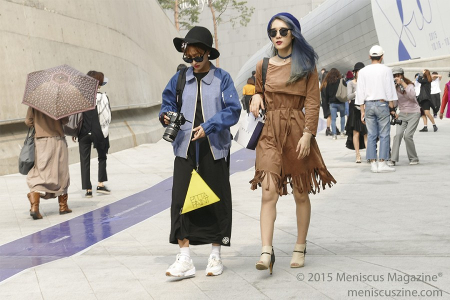 In some cases, the visual spectacle was more intriguing on the grounds of the DDP - which served as a playground for those dressing up - than on the actual Seoul Fashion Week runway. (photo by Yuan-Kwan Chan / Meniscus Magazine)