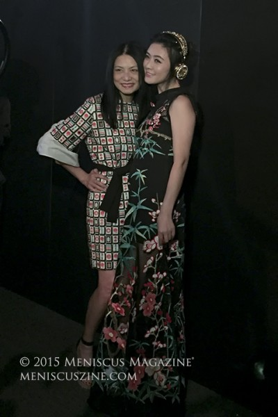 Vivienne Tam (left) with Chinese actress Hairong Tian. (photo by Megan Lee / Meniscus Magazine)