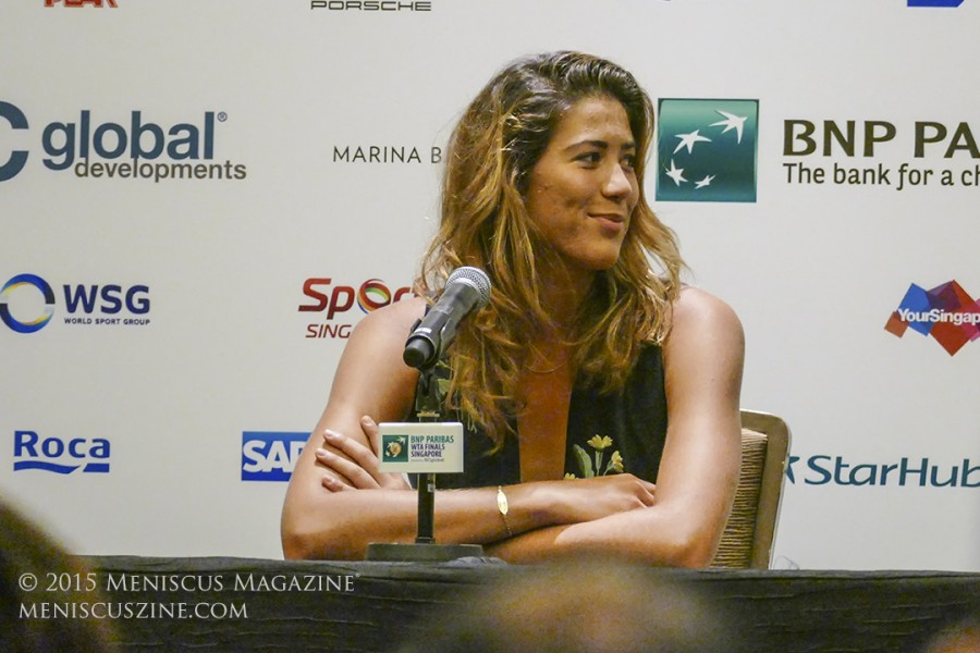 Garbiñe Muguruza during the WTA Finals All-Access Hour in Singapore on Oct. 24, 2015. (photo by Yuan-Kwan Chan / Meniscus Magazine)