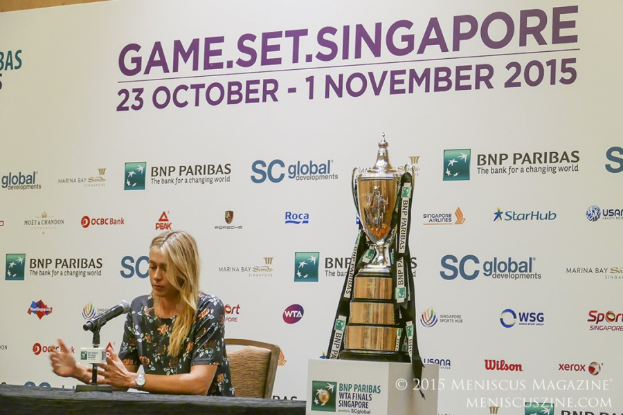 Maria Sharapova with the 2015 WTA Finals trophy, named after Billie Jean King. (photo by Yuan-Kwan Chan / Meniscus Magazine)