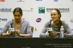 Sania Mirza (left) and Martina Hingis in Singapore on Oct. 24, 2015. (photo by Yuan-Kwan Chan / Meniscus Magazine)