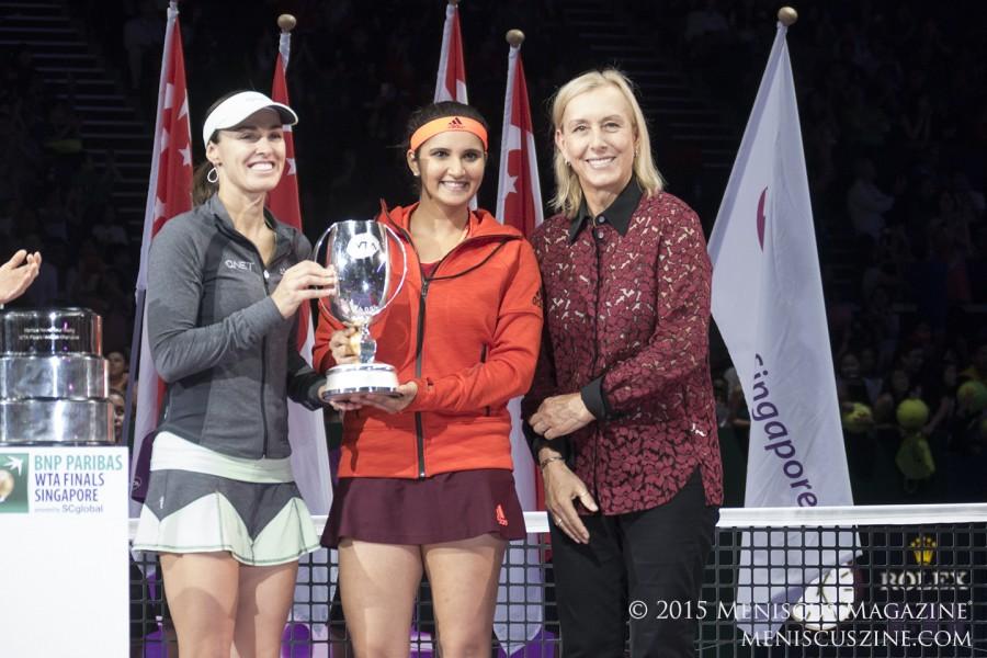 Martina Navratilova (right) with 2015 WTA Finals doubles champions Martina Hingis (left) and Sania Mirza (center). (photo by Yuan-Kwan Chan / Meniscus Magazine)