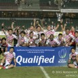Boosted by a Katsuyuki Sakai try and two conversions, Japan snatched a place in the debut Olympic rugby sevens event, demoralizing Hong Kong, 24-10.