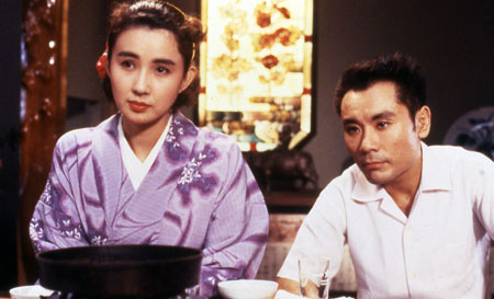 "Kumiko Akiyoshi (left) and Tsurutarô Kataoka (right) in ""The Discarnates."" (still courtesy of The Discarnates © 1988 Shochiku Co.,Ltd.)"