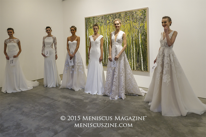 As the temperature dropped and lighting faded, the models moved indoors to pose alongside paintings at the Lehmann Maupin Gallery. (photo by Yuan-Kwan Chan / Meniscus Magazine)