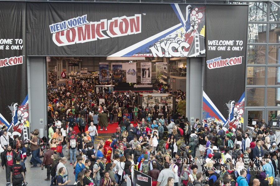 "The tenth edition of New York Comic Con took place from Oct. 8-11, 2015, at the Jacob K. Javits Center. Although the San Diego Comic Con is famously nicknamed ""Line-A-Con"" for its insanely long queues at panels, New York comes in a close second. (photo by Kwai Chan / Meniscus Magazine)"