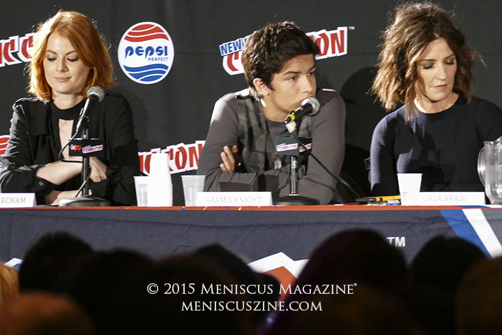 Emily Beecham (The Widow, left), Aramis Knight (M.K., center) and Orla Brady (Lydia - Quinn's first wife, right) at New York Comic Con 2015. (photo by Yuan-Kwan Chan / Meniscus Magazine)