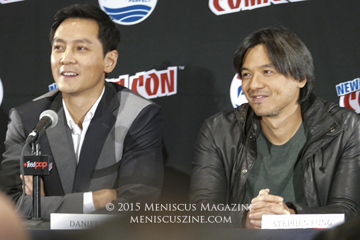 "Daniel Wu (left) and Stephen Fung at the Jacob K. Javits Convention Center promoting the AMC series ""Into the Badlands"" at New York Comic Con 2015. (photo by Yuan-Kwan Chan / Meniscus Magazine)"