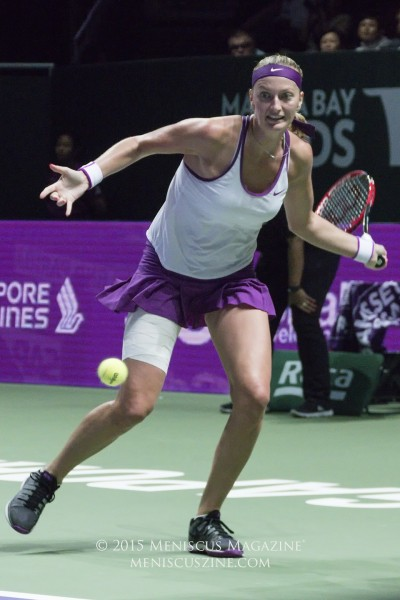 Petra Kvitova during the 2015 WTA Finals championship match at the Singapore Indoor Stadium. Going into the final, Kvitova's head-to-head match record against Agnieszka Radwanska was 6-2. (photo by Yuan-Kwan Chan / Meniscus Magazine)