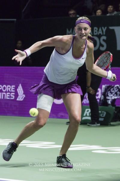 Petra Kvitova during the 2015 WTA Finals championship match at the Singapore Indoor Stadium. Going into the final, Kvitova's head-to-head match record against Agnieszka Radwanska was 6-2. (photo by Yuan-Kwan Chan / Meniscus Magazine)