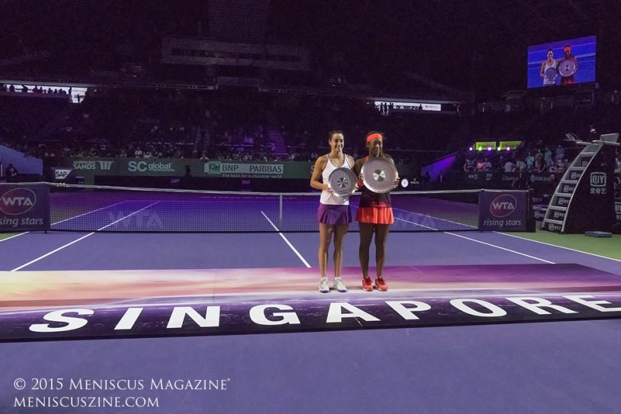 2015 WTA Rising Stars Invitational runner-up Caroline Garcia (left) and champion Naomi Osaka (right). (photo by Yuan-Kwan Chan / Meniscus Magazine)