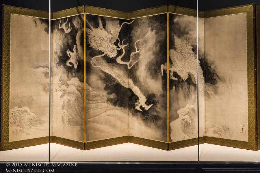 Dragons and Clouds 雲龍図屏風  Tawaraya Sōtatsu (act. ca. 1600–40) Japan, Edo period, early 1600s  Pair of six-panel folding screens; ink and pink tint on paper, 171.5 x 374.3 cm (.229 overall), 171.5 x 374.6 cm (.230 overall)  Gift of Charles Lang Freer, Freer Gallery of Art, F1905.229-230 (photo by Kwai Chan / Meniscus Magazine)