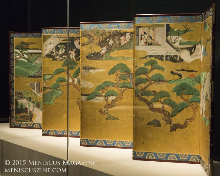 Nine Scenes from the Tale of Genji 源氏物語図屏風  Tawaraya Sōtatsu (act. ca. 1600–40)Japan, early to mid-1600s  Eight-panel folding screen; ink, color, and gold on gilded paper80.65 × 324.49 cm (image)  Minneapolis Institute of Arts, Mary Griggs Burke Collection, Gift of the Mary and Jackson Burke Foundation, L2015.33.1 (photo by Kwai Chan / Meniscus Magazine)