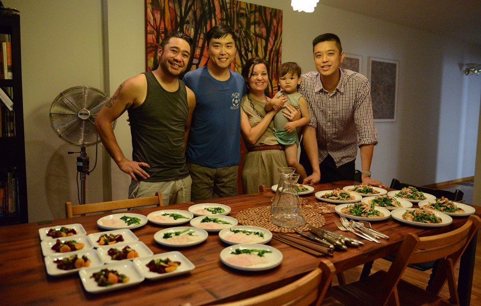 Fung Tu chef Jonathan Wu (second from left) and business partner Wilson Tang (right, also the third-generation owner of the Nom Wah Tea Parlor in Manhattan's Chinatown) during a taste test at Fu's home. (still courtesy of the San Diego Asian Film Festival)