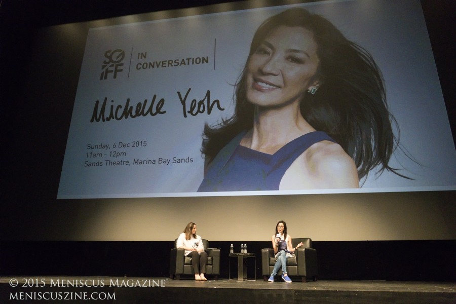 Larger than life: A day after winning the Cinema Legend Award at the Singapore International Film Festival, actress Michelle Yeoh talked about her career on Dec. 6 at Marina Bay Sands. (photo by Yuan-Kwan Chan / Meniscus Magazine)