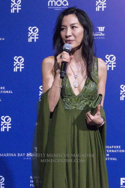 "Actress Michelle Yeoh headlined the event, winning the inaugural Cinema Legend Award. ""I would like to dedicate this award to my father,"" Yeoh said. ""He taught me that imagination has no boundaries, to live your life to its full potential and believe in yourself."" (photo by Yuan-Kwan Chan / Meniscus Magazine)"