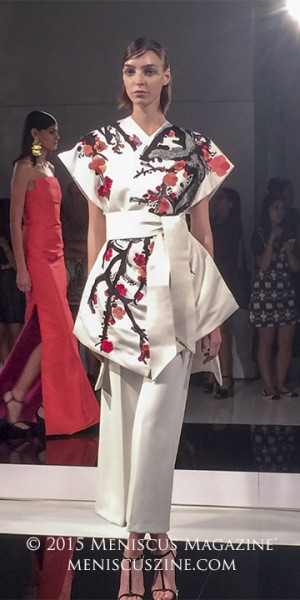 Natori is one of several labels under founder and CEO Josie Natori's fashion empire. The others include Josie Natori, Josie, and N Natori. Pictured: a white satin kimono with plum blossom embroidery, paired with white crepe culottes. (photo by Andie Davis / Meniscus Magazine)
