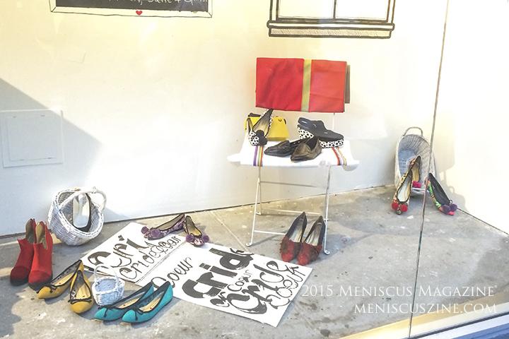 Cri de Coeur Spring 2016: Vegan shoes on display in a bodega. (photo by Andie Davis / Meniscus Magazine)