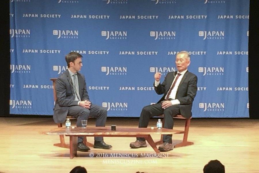 Kermit Roosevelt (left) and actor-turned-activist George Takei (right) at the Japan Society. (photo by Megan Lee / Meniscus Magazine)
