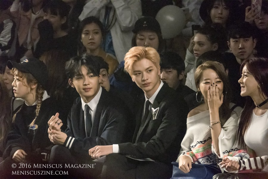 Rapper Kisum (left), and BTOB K-pop group members Lim Hyunsik (second from left) and Yook Sungjae (center) at the Munsoo Kwon Fall 2016 show. (photo by Yuan-Kwan Chan / Meniscus Magazine)