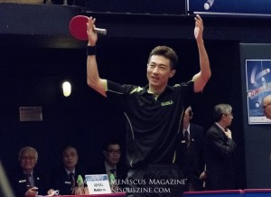 A jubilant Li Ping qualified for the 2016 Summer Olympics, representing Qatar. Li previously played for China, winning the world mixed doubles championship in 2009. (photo by Yuan-Kwan Chan / Meniscus Magazine)
