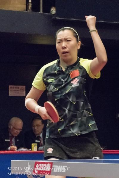 Li Xiaoxia during her victory over Kasumi Ishikawa in Hong Kong. (photo by Yuan-Kwan Chan / Meniscus Magazine)