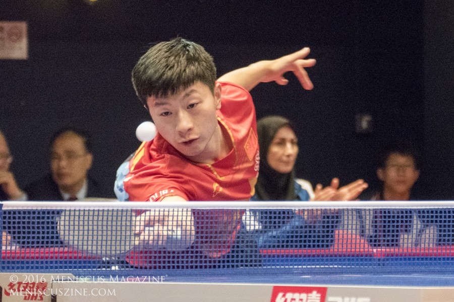 Chinese superstar table tennis player Ma Long, the 2016 Olympic gold medalist in singles, in action against Zhang Jike at the 2016 ITTF-Asian Olympic Games Qualification Tournament in Hong Kong. (photo by Yuan-Kwan Chan / Meniscus Magazine)