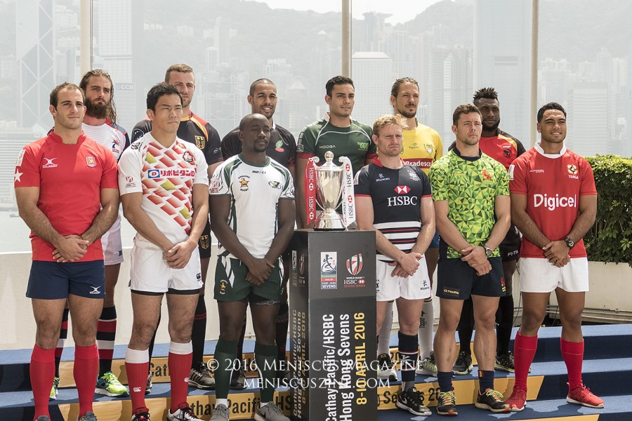 The qualifying captains, including Ben Soto (second from left) of the Cayman Islands, who are competing at the Hong Kong Sevens for the first time ever. (photo by Yuan-Kwan Chan / Meniscus Magazine)