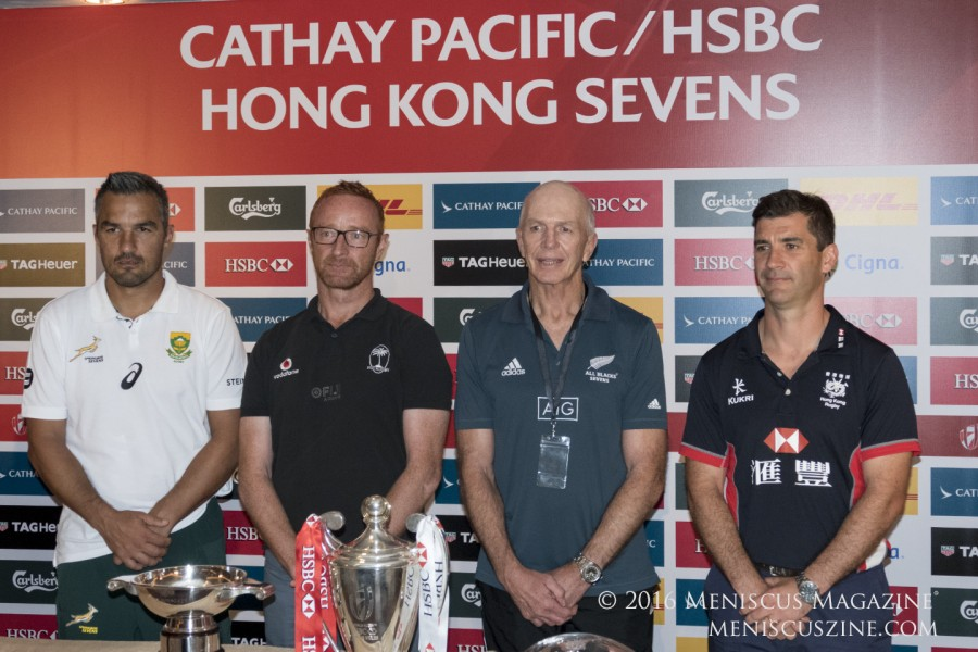 Left to right: South Africa (Neil Powell), Fiji (Ben Ryan), New Zealand (Sir Gordon Tietjens) and Hong Kong (Gareth Baber). (photo by Yuan-Kwan Chan / Meniscus Magazine)