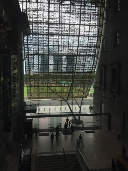 The magnificent veil at the National Gallery Singapore entrance, as seen from the interior. (photo by Yuan-Kwan Chan / Meniscus Magazine)
