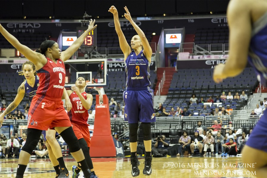 Mercury guard Diana Taurasi had 27 points, five assists and five rebounds against the Mystics on Friday. (photo by Kwai Chan / Meniscus Magazine)