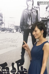 Sayaka Yamamoto poses next to her signature at the 2016 Hong Kong International Film Festival. A couple of months after the press conference, she attained her highest-ever ranking in the Senbatsu Election, placing No. 4. (photo by Yuan-Kwan Chan / Meniscus Magazine)