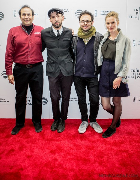Actress Lindsay Burdge (far right) is cast to play the love interest of Arthur Martinez (far left) in the feature film that Martinez hopes to star in, and have Mike Ott (second from left) and Nathan Silver (second from right) shoot. (photo by Ekaterina Golovinskaya / Meniscus Magazine)