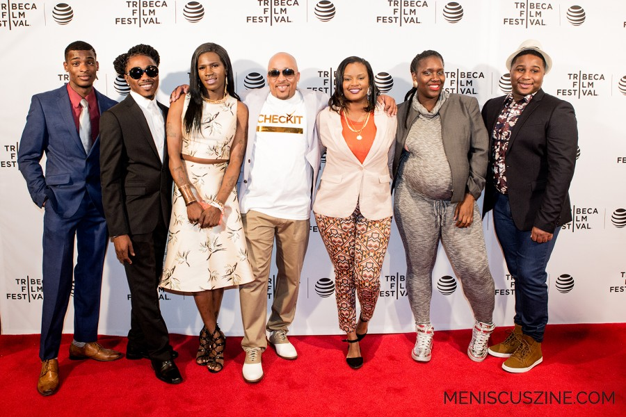 "According to an official statement about the film, """"Check It"" is an intimate portrait of four childhood friends as they claw their way out of gang life through an unlikely avenue: fashion. Led by an ex-convict named Mo, the Check It members are now creating their own clothing label, putting on fashion shows, and working stints as runway models."" Members of the ""Check It"" gang who attended the screening include Skittles (far left), Day Day (second from left), Scar (third from left) and Trey (far right). Also pictured: community activist Ronald Moten (center), Gica Briscoe (third from right) and Johnetta Simmons (second from right). (photo by Ekaterina Golovinskaya / Meniscus Magazine)"
