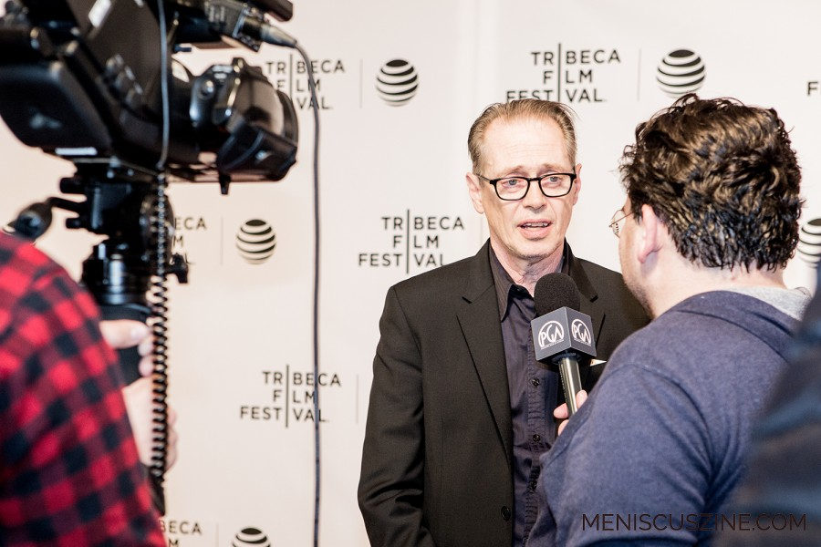 """Actor Steve Buscemi grants interviews at the world premiere of """"Check It,"""" which took place in New York at the 2016 Tribeca Film Festival. (photo by Ekaterina Golovinskaya / Meniscus Magazine)"""