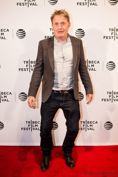 "Director Christopher Smith hams it up for the cameras at the world premiere of his film ""Detour"" at the 2016 Tribeca Film Festival. (photo by Ekaterina Golovinskaya / Meniscus Magazine)"